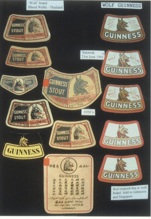Guinness Singapore Red Dog labels